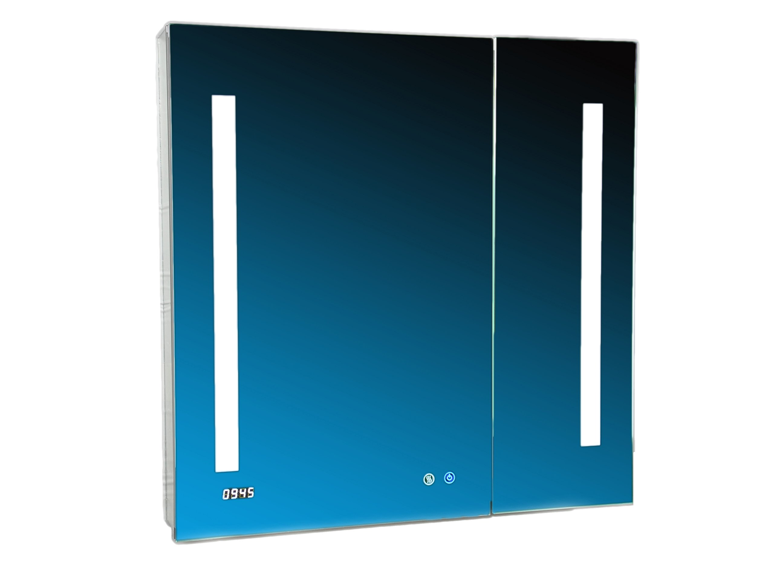 AQUADOM SIGNATURE ROYALE Mirror Glass Cabinet for Bathroom with 3D LED Color Temperature Lights- Clock & USB with Outlets-Recessed & Surface Mount-Defog Mechanism-Touch Screen Button 30in x 30in x 5in