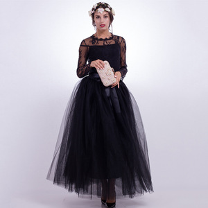 7 Layers Women Tutu Long Maxi Skirt For Wedding Ball Gown