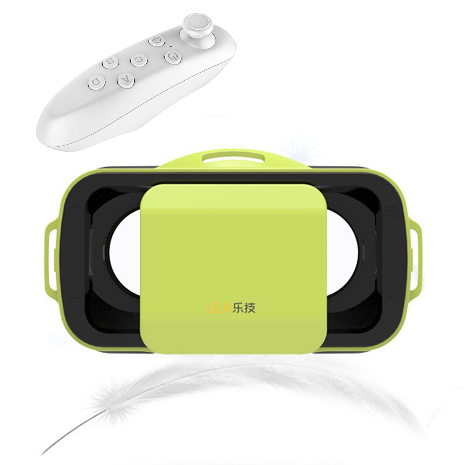 "Mini 3D VR Glasses/Headset, Tsanglight Virtual Reality Headset + Remote Controller for IOS iPhone 7/6/6S Plus, Android Samsung Galaxy S7 Edge S7/6 /J7/A5/A3 2016 & Other 4.5""-5.5"" Cellphone -Green"