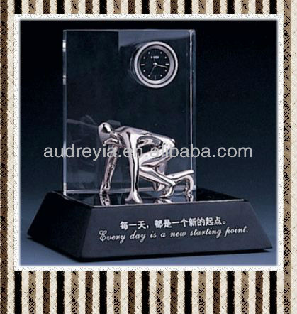 Promotinal gift crystal table clock for sale