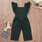 2019 wholesale boutique American personality fashion flyinfg sleeve girl solid color onesie children's clothing set kids wear