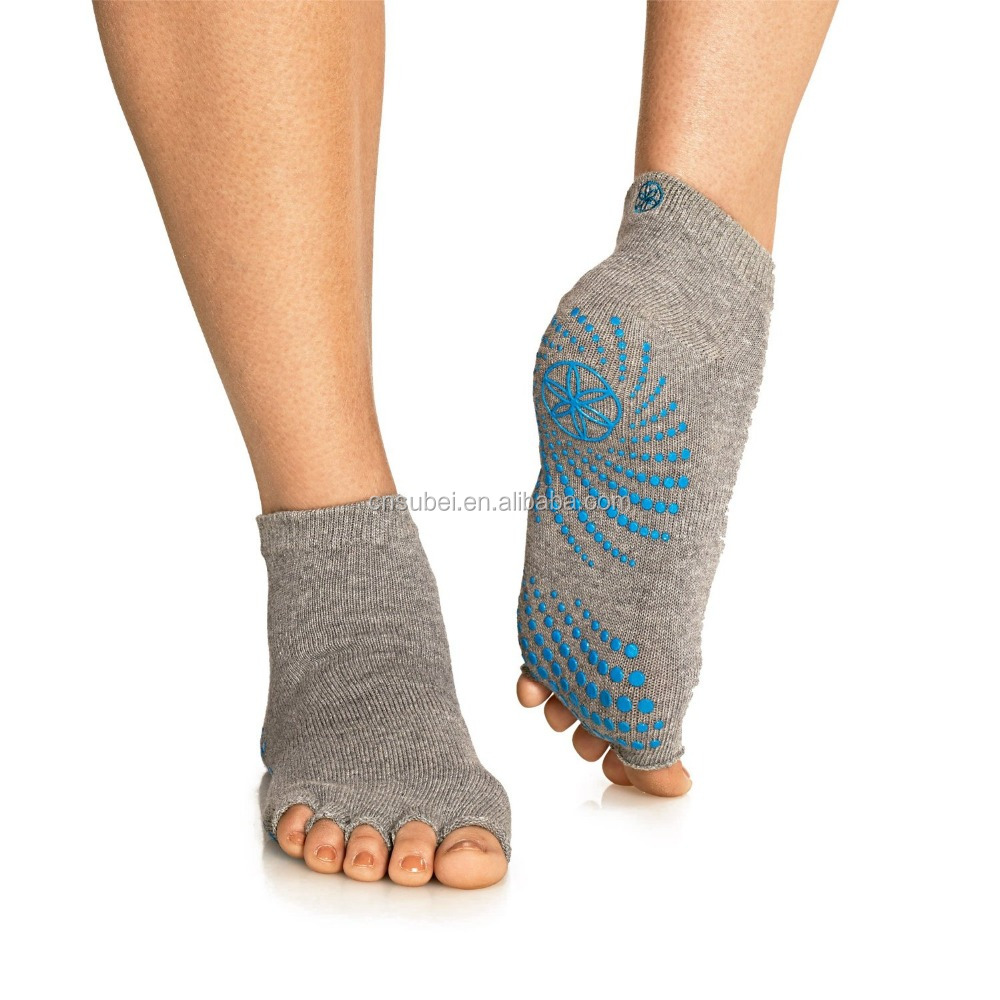 Five open toe anti-slip logo trampoline socks for women
