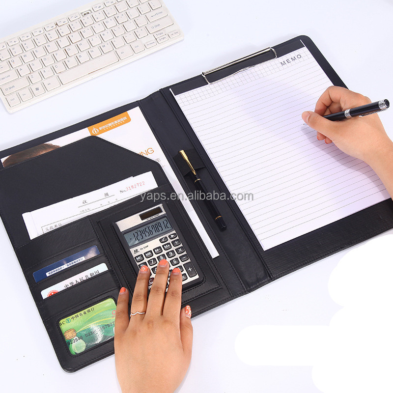 Pu Office Conference Portfolio Notepad Leather Briefcases with Calculator