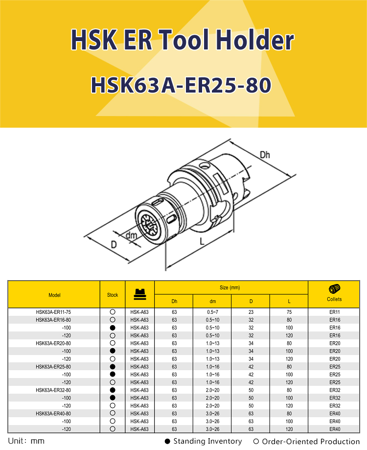 HSK63A-ER25-80 shank ER collect chuck tool holder CNC