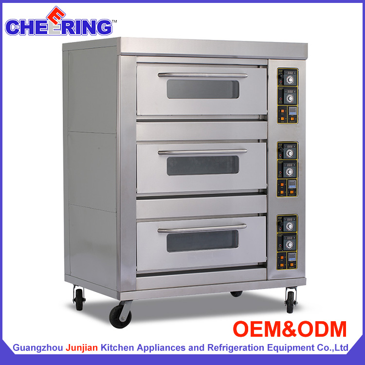 Bakery equipment three-layer with six -tray baking bread Gas type 3 deck bakery oven made in china