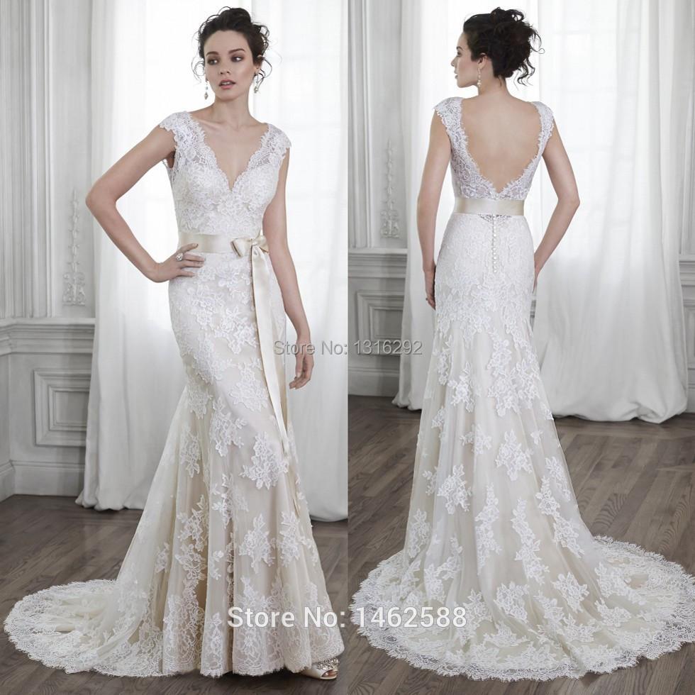 2015 New Elegant Full Long Sleeves Mermaid Wedding Dresses: New Elegant V Neck Cap Sleeves Champagne Lace Wedding