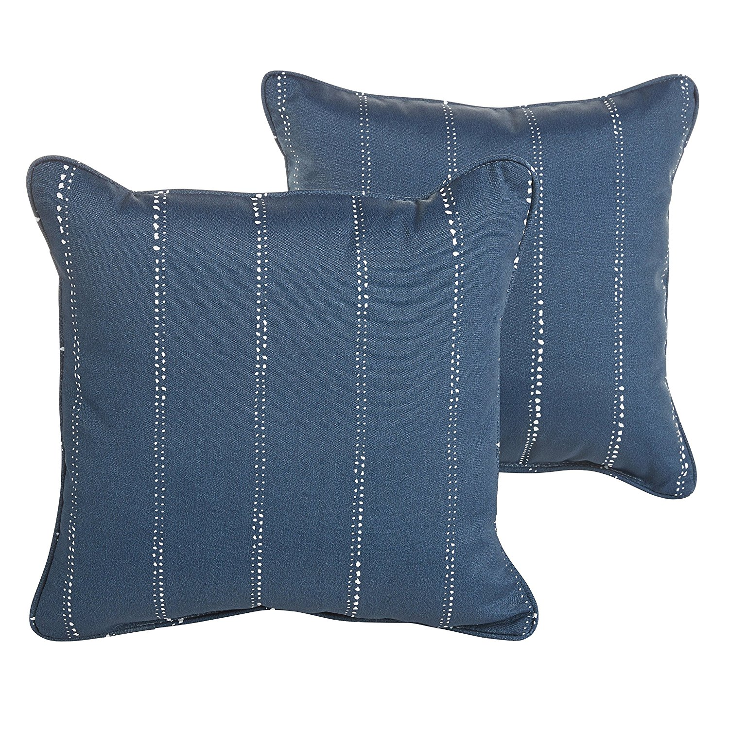 MOZAIC COMPANY Caldwell III Navy Dotted Stripes Indoor/ Outdoor 22 Inch Corded Pillow Set