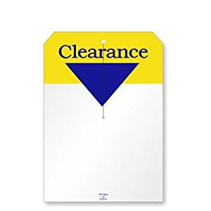 """Clearance, w/3.25"""" slit, 2 clip corners, Merchandise 12pt Tag, 250 Tags / Pack, 7"""" x 5"""""""