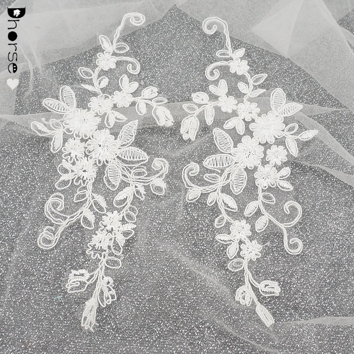 10*24cm white corded embroidery bridal lace patch