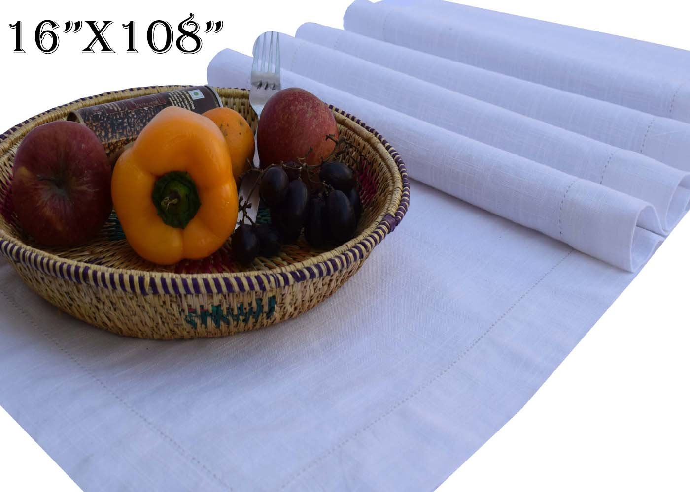 Linen Clubs - Slub Cotton Table Runner - White - 16x108 - 100% Egyptian Slub Cotton with Linen Look - Elegant Cloth - Super Value Hand made Ladder Lace Look & One of life's little home luxuries