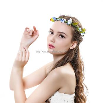 Fashion Style Sand Beach Hair Bands Artificial Flower Head Wreath