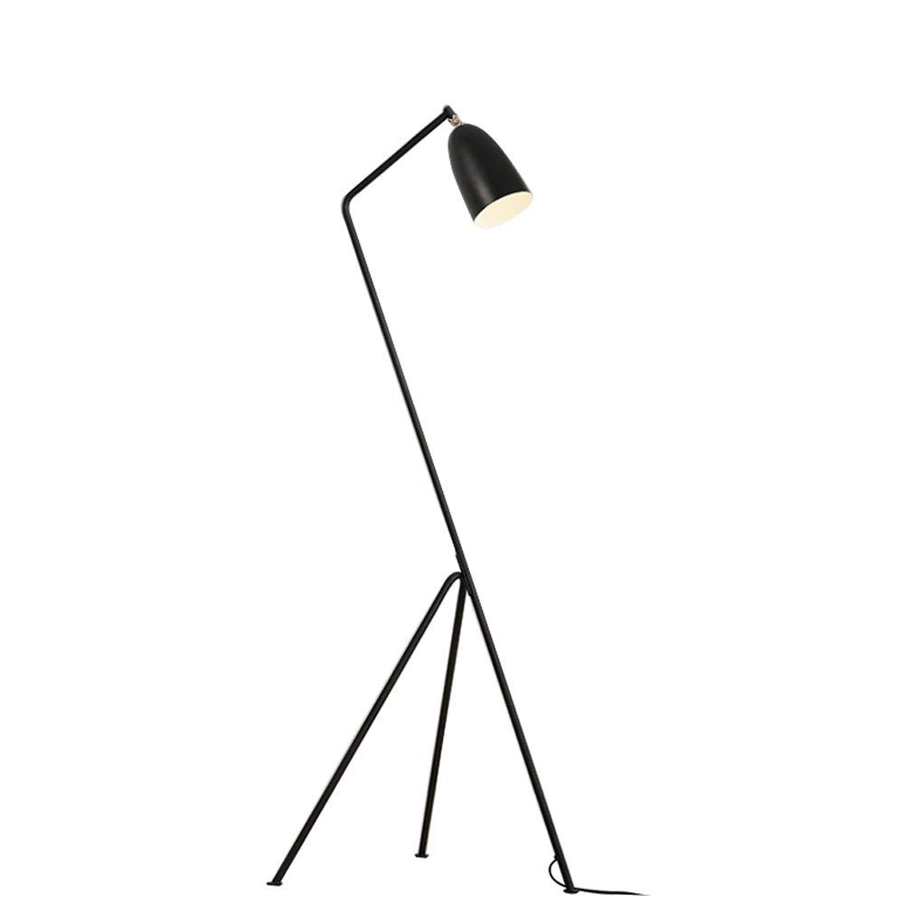 MGLDD Nordic vertical floor lamp wrought iron fashion LED floor lamp for bedroom bedside living room study black E27, H: 150cm
