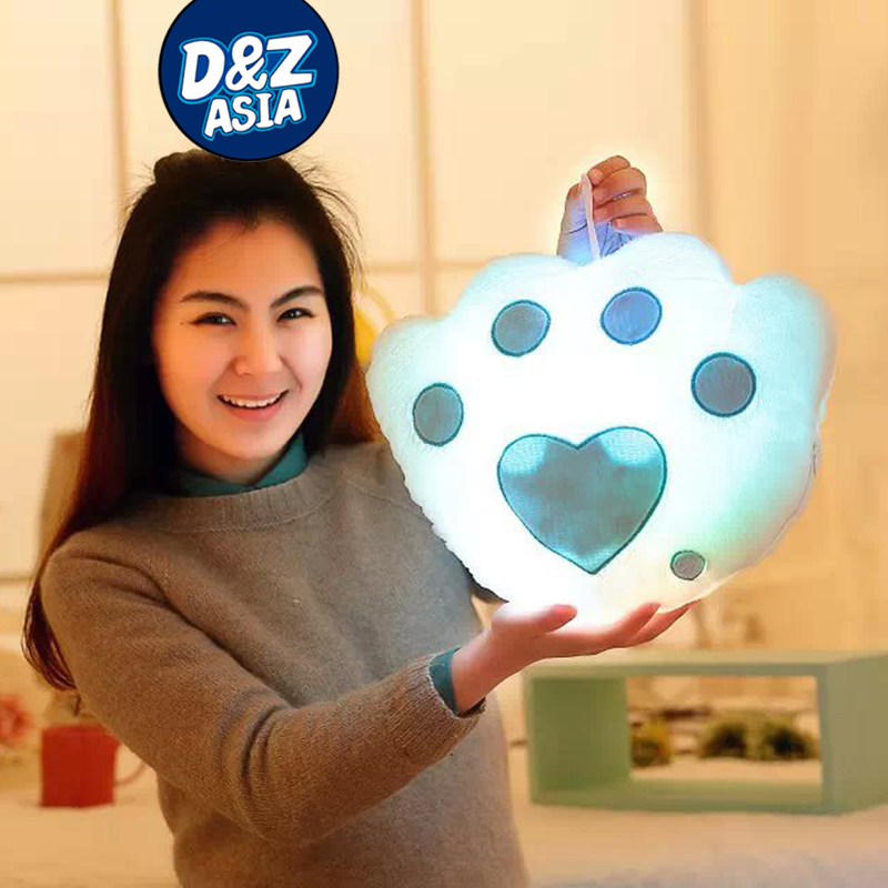 Colorful LED Luminous Bear's paw pillow and kawaii <strong>plush</strong>