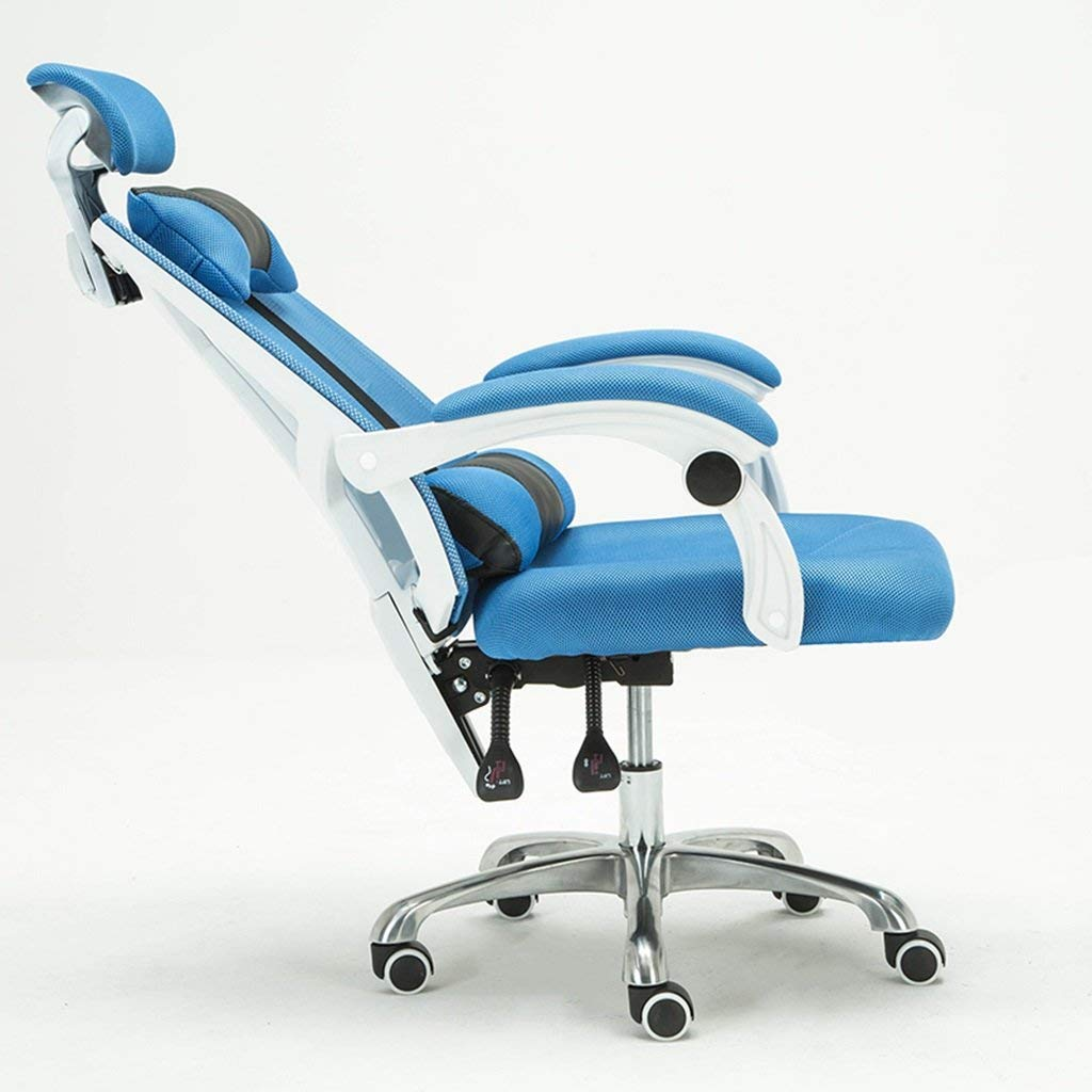 Adjustable Chairs Computer chair Home recliner Chair lift Footstool swivel chair Office chair chair Chair that can sleep Chair with pillow (Color : Blue)