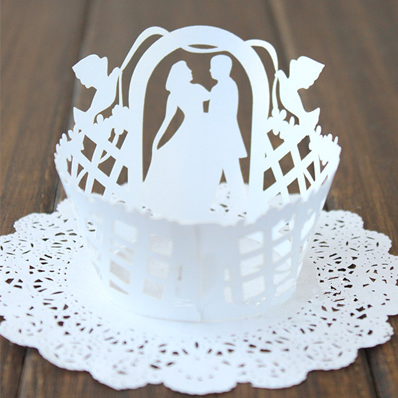 White Wedding Pearlized Lace Cupcake Wrappers Laser Cut ...