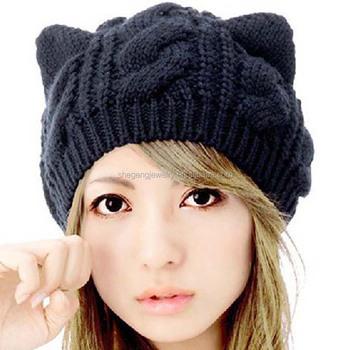 Imixcity женская шляпа кошка вязаные шапки с ушками плетеные вязаные