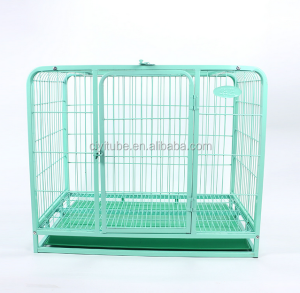 Folding Metal Wire Pet Cage with Tray Dog Cage with Wheels