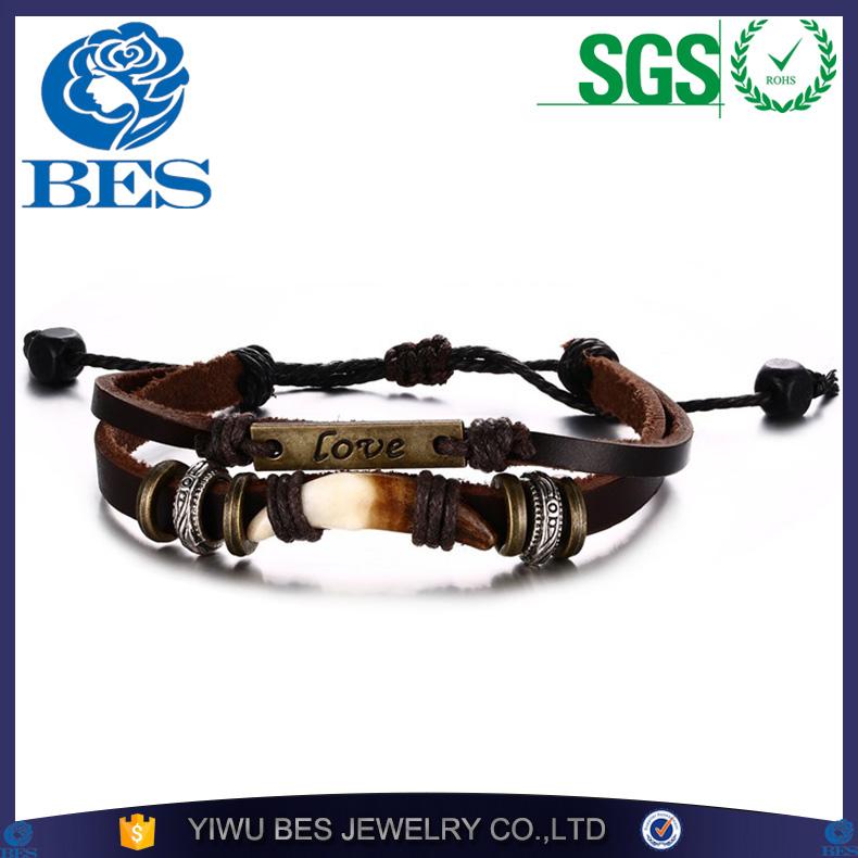 695db9b7a017 De cuero de los hombres pulseras brazaletes Diente de lobo multicapa de  cuero de joyería de