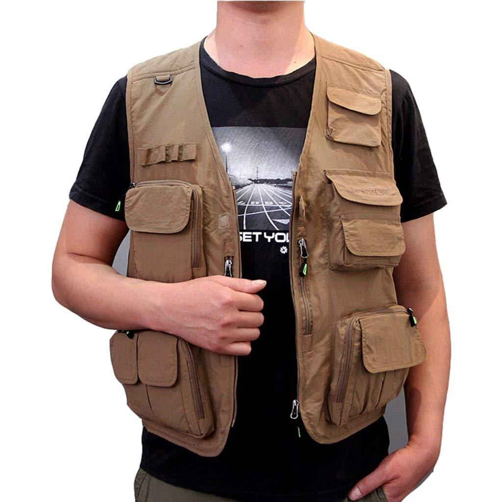 Pocket vest Multi Outdoor sports vest Summer thin vest jacket tooling vest Fishing vest Breathable comfort Removable (Color : Khaki, Size : XL)