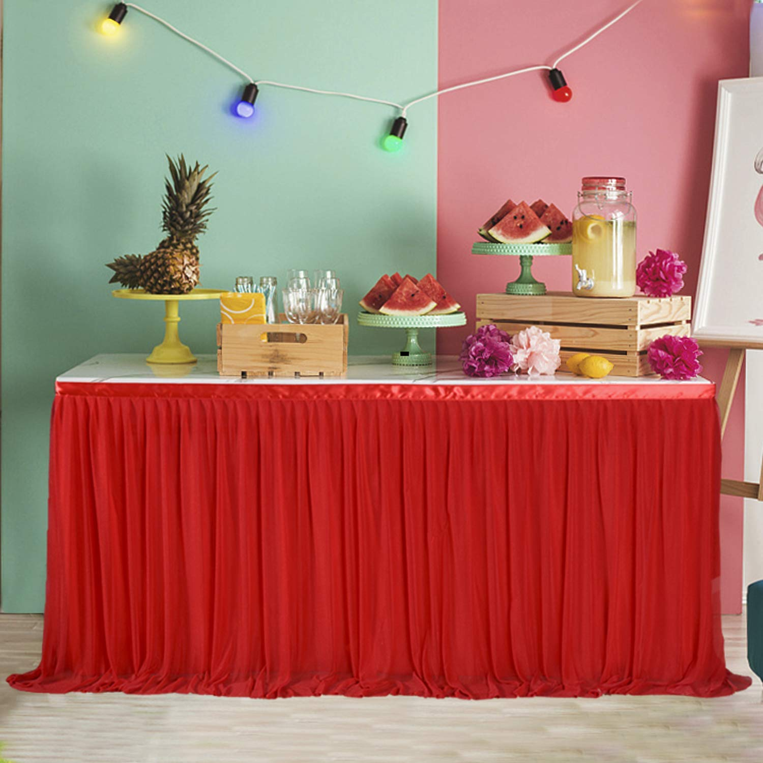 fd06b86a6 Get Quotations · Red Tulle Party Tabke Skirt 9FT Round or Rectangle  Tablecloth Tutu for Christmas Dinning Home and
