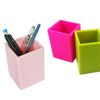 Eco-friendly Cheap Soft PVC Rubber Material Pink Color Pencil Holder with Custom Logo Wholesale