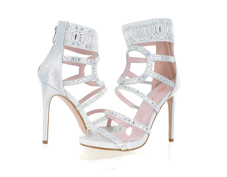0b685c15e7a Get Quotations · Urban Heel Women s Rhinestone Strappy Gladiator Stiletto  Heels