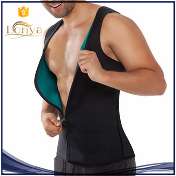 Fashion theromo sweat tops men body shaper latex zipper corset XS-2XL