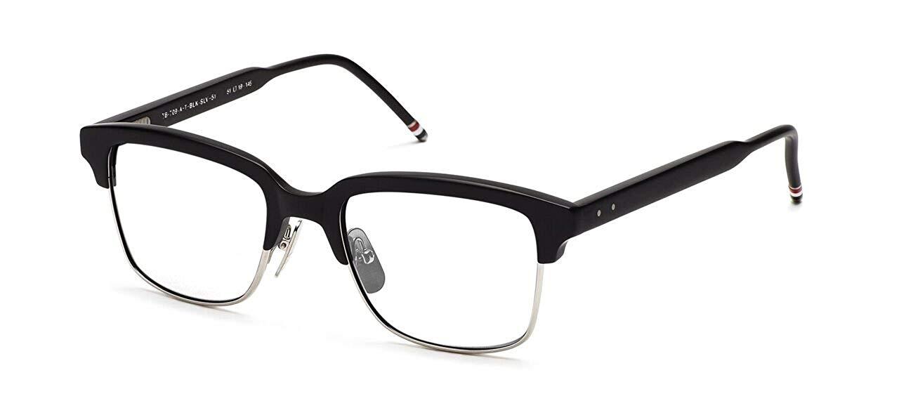 4bdeb3785ca Get Quotations · THOM BROWNE TB 709 A-BLK-SLV Matte Black-Silver Eyeglasses
