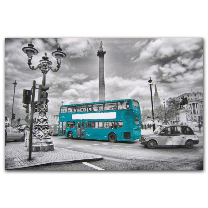 Modern street blue bus scenery embossed photos printed wall art on canvas