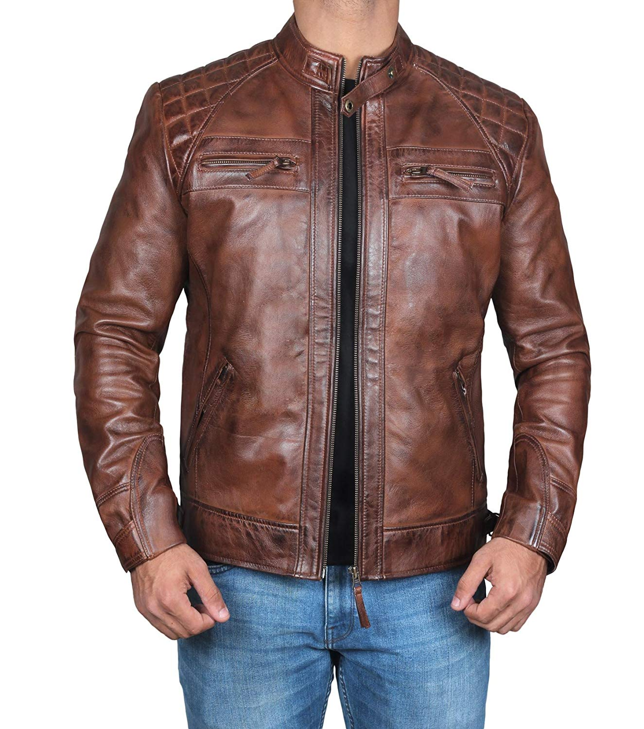 b0aa493cbea Get Quotations · Mens Classic Vintage Distressed Dark Brown Leather Jacket  - Motorcycle Leather Jacket