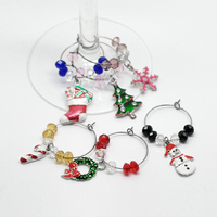 Cheap Wholesale Bar Accessories Table Decorations Christmas Wine Glass Charms Rings With Box