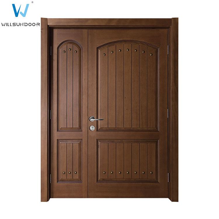 Golden teak veneer composite solid wood panel board doors for 15 panel solid wood door