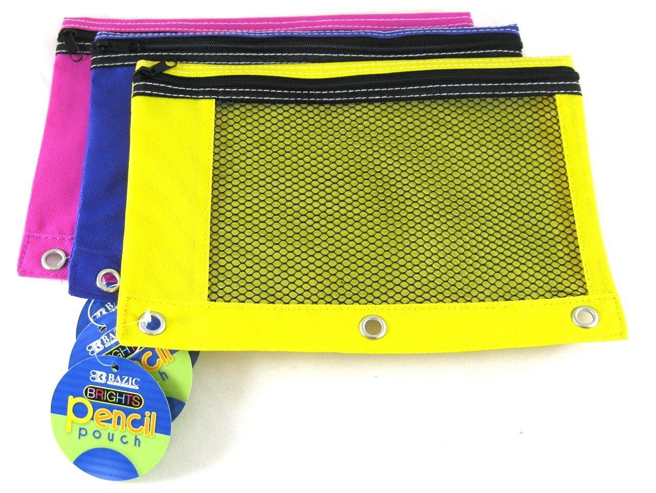 3 Pk, BAZIC Bright Color 3-Ring Pencil Pouch-Mesh Window, Girls