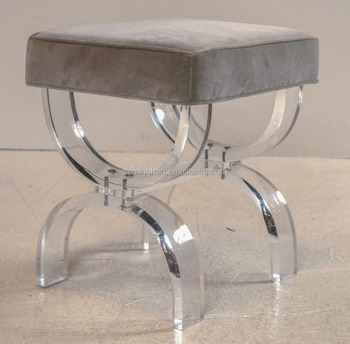 Customized Acrylic Bathroom Vanity Stool With Velvet Seat - Buy ...