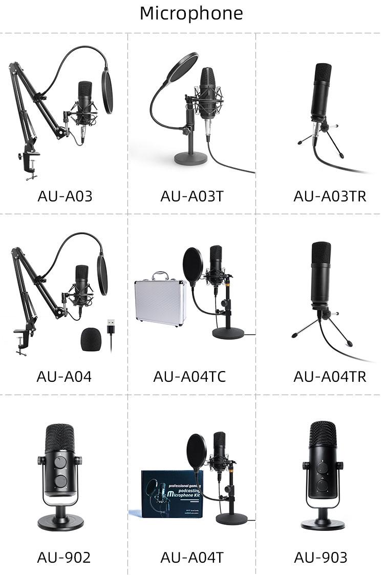 Microscopio electrnico192k 24bit microfono condensador microfone pc para transmissão ao vivo