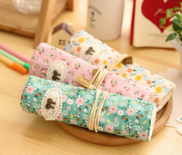 Cute Printed Canvas Pencil Pen Roll Case Holder pencil Bag