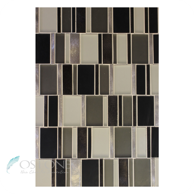 Professional Design Black Glass And Metal Mosaic Tiles For Wall