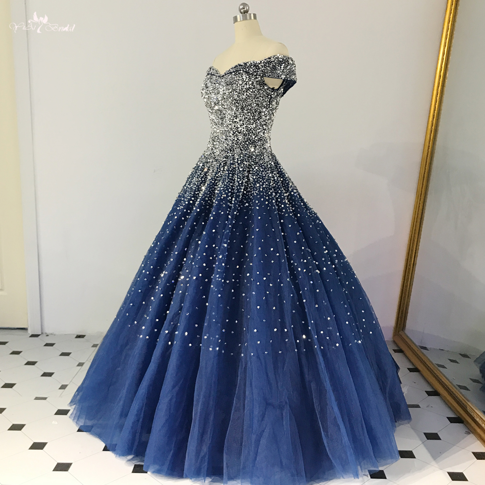 RSE848 Amazing Shinny Sequin Long Quinceanera Dresses Ball Gown Princess Party Off The Shoulder Pattern Royal Blue Evening Dress