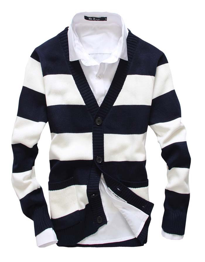 Buy Fashion coat dress mens striped sweater zipper cardigan small ...