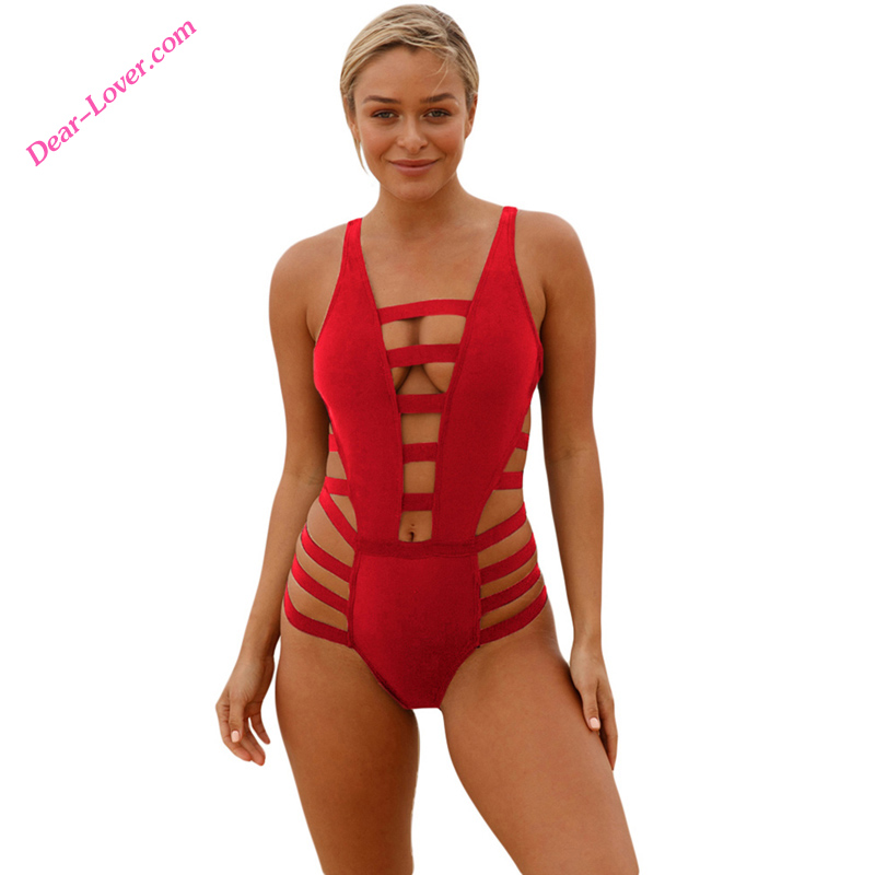 56cf75805a12b Hot Sale Red Strappy Cutout One Piece Bathing Suit - Buy One Piece  Transparent Bathing Suit