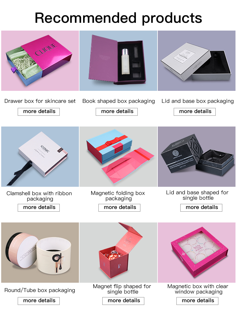 HC Packaging Manufacture New Product Wholesale Luxury Black Cardboard Cosmetic Packaging Box