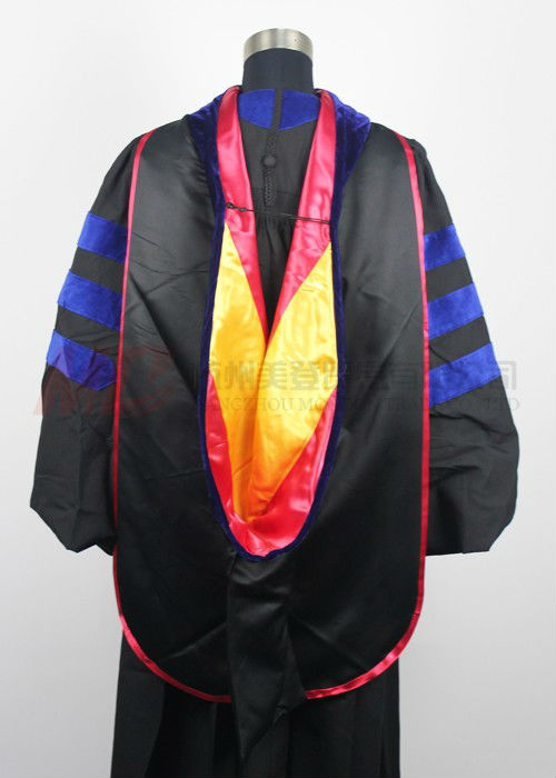 Deluxe Doctoral Graduation Tam and Gown with Hood Matte Black-US