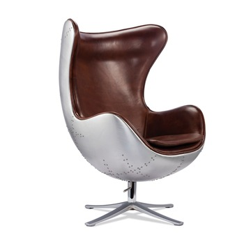 Industrial Brown Real Leather Aviator Chair With High Quality Aluminum Back  Aviator Egg Chair