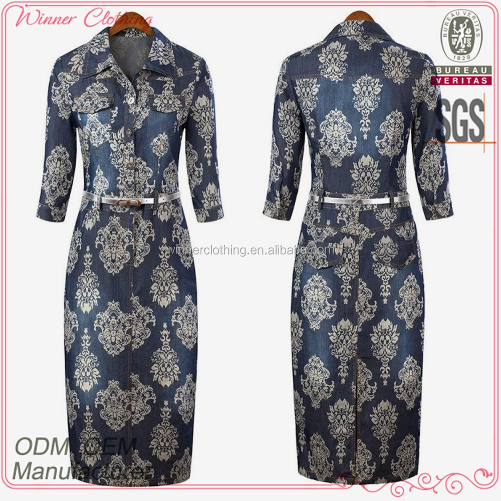 OEM/ODM formal long sleeves elegance print women office dresses clothes for autumn season