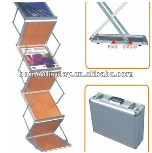 free standing wood tray literature rack