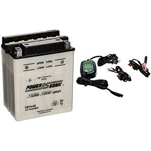 Power-Sonic CB14-A2 Conventional Powersport Battery and Battery Tender 022-0150-DL-WH 800 Battery Charger Bundle