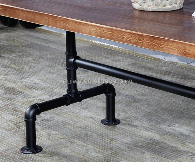 industrial style wooden coffee table restaurant table set with tube metal frame
