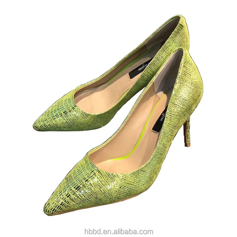 wholesale fluorescence pointy genuine dress toe stiletto lady leather shoe rqrwxBFR