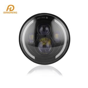 LED Motorcycle Headlight 7 Inch Round Headlight for Harley Offroad Hight low Beam with Angel Eye