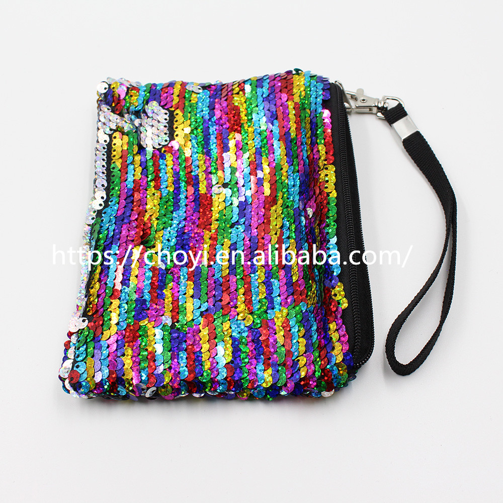 Promotional Gift Mermaid Sequin Purse Card Coin Phone Holder Handbags Sequin Wristlet
